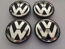 NEW VOLKSWAGEN VW 65MM SET OF 4 BLACK CENTER WHEEL CAPS LOGO EMBLEM 3B7601171