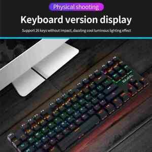 Desktop USB Wired Mechanical Gaming Keyboard LED Backlit Keys Layout 7Y6T