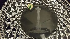 "Waterford Crystal 8"" Round SEATTLE SPACE NEEDLE Dish Plate Ireland~Vintage"