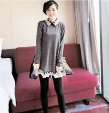 2013 New Korean Women Fat Mm Loose Long-Sleeved top dress with lace