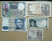 SPAIN 5 X NOTES 1931 TO 1970