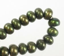5mm Olive Green Button Freshwater Pearl, Genuine Freshwater Pearl Beads (#53)