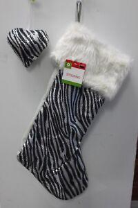2-SET ZEBRA SEQUIN STOCKING & HEART ORNAMENT Christmas Sparkle Animal Print NEW