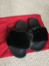 GIVENCHY BLACK MINK SLIDES SIZE 38 NEW