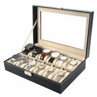 USA 12 Slot Men Watch Box Leather Display Case Organizer Glass Jewelry Storage