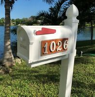 Mailbox with 4 number tile address on each side. weatherproof poly. Applewood.