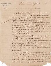 Marechal Pelissier lettre autographe signée famille jardin botanique
