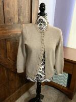 J. Crew Wool/Cashmere Blend Button Down Cardigan Sweater Size M Beige Rhinestone
