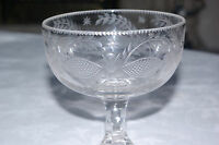 Antique Victorian Cut & Etched Crystal Glass Goblet Hand Blown Rummer 19 Century