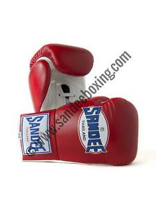 Sandee Lace Up Pro Fight Red & White Leather Boxing Glove Muay Thai MMA UFC