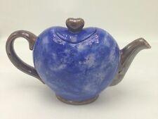 Ceramic Heart Shaped Tea Pot Cobalt Blue Metallic Bronze Speckled Teapot