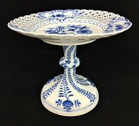 Meissen Porcelain Blue Onion Reticulated Pedestal Compote Dish Crossed Swords