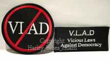 Biker Iron Or Sew On Embroidered Cloth Patch ~ QLD Anti VLAD Law, 2 pack ~