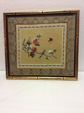 "VINTAGE: EMBROIDERED ""BIRD & BUTTERFLY ON FLOWERING TREE""  SILK WALL PICTURE"