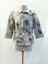 COLDWATER CREEK Quilted 3/4 Sleeve 100% Cotton Random MultiPrint Jacket 10 Lined