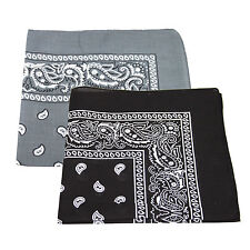 2 x Paisley Pattern Bandana Head / Neck Scarf 100% Cotton (Black & Grey)
