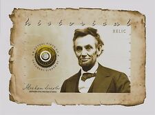 ABRAHAM LINCOLN handled, signed PIECE OF DOCUMENT relic, swatch, owned, personal