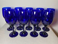 "Vintage Set 9 Deep Cobalt Blue Water Wine Glasses  8 1/2"" PRISTINE Stamped ""L"""
