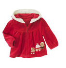 Gymboree Gingerbread Girl Red Velour Holiday Christmas Faux Fur Jacket w/Cookies