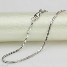 Fine Au750 Pure 18K White Gold Necklace Women 1.5mm Milan Box Link 18inch