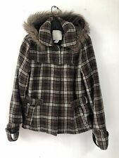 O'neill Woman's Large Jacket Wool Blend Plaid Hooded Faux Fur Brown Button Up