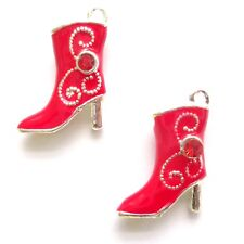 4 Red 20x16mm Enamel Boots Charms Jewellery Making