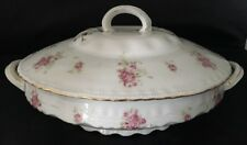 Victoria Austria 353 Oval Vegetable Serving Bowl With Lid Handles Pink Roses