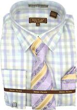 Mens Henri Picard Lavender and Cream Plaid Printed Dress Shirt and Tie Set