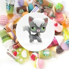 Authentic Littlest Pet Shop Grey Longhair Cat No # +🥤🌭Suprise Food Item��