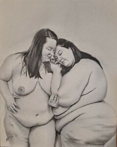 Original 11x14inch Charcoal Drawing Of 2 Nude BBW Women
