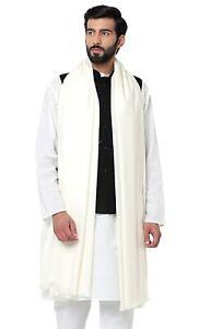 "White Men's Plain Woolen Dhariwal Lohi Shawl Scarf Scarves 50"" X 100"""