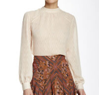 Free People Sz S Small High Neck Blouse Button Back Semi Sheer Cream Top Q28
