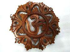 """New Wooden 7"""" Handcraved Sheesham Wood OM Key Holder Hanger Gift Item Home Decor"""