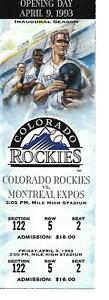 1993 Colorado Rockies Opening Day Full Ticket vs. Expos Rox 1st Ever Home Game!!