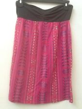 BILLABONG Strapless Summer Dress SIze Small Gray Pink Colorful Stretchy Knit