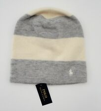 0a2aa28bcb3 Ralph Lauren Girls Gray Rugby Striped Slouchy Winter Hat Sz 7 to 16