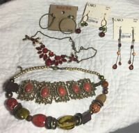Assorted Jewelry Lot 6 Gold Tone Silver Tone Boho Bracelet Earrings Necklace