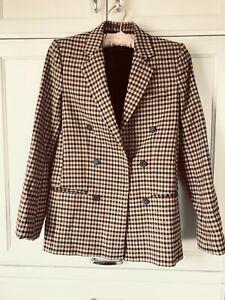 Zara Woman Suit Jacket Sz XS Tan Black Beige Check Double Breasted