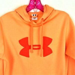 Under Armour Size Medium Hoodie Sweatshirt Pullover Front Pocket Logo Orange
