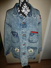 Vintage Womens Michael Sloane Acid Stone Wash Denim Jean Jacket 1980'S~Xl
