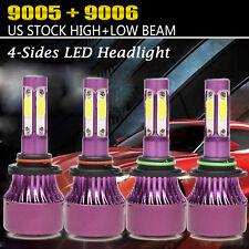 4PCS 9005 9006 LED Total 2400W Combo Headlight Kit Bulbs 6000K White Hi-Lo Beam