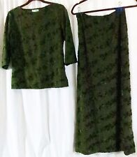 afd07b831307 Gantos Green Skirt Suit Top L Skirt S Floral Vintage