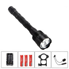 Tactical 4000Lm 3x T6 LED Torch Flashlight Hunting Torch Mount Light Rifle Lamp