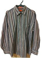 Faconnable Blue Striped Long Sleeve Button Up Dress Shirt Size Large Casual