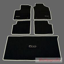 Velours Fußmatten + Kofferraum Set für Fiat 500 + 500 C Cabrio ab Bj 2013 crema