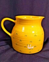 Golden Honey Pottery Pitcher EUC Hand Decorated Vintage Duck Goose Table Ware