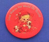 Hallmark BUTTON PIN Valentines Vintage HAMILTON LOVE MAKES WORLD Hoilday Pinback