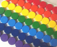 100 SMALL Plastic JARS Mini 1 tsp RainBow Color Caps Container Geocache DecoJars