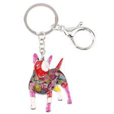 Newei Enamel Bull Terrier Dog Big Key Chain Ring Women Handbag Pendant Jewelry