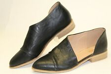 Catherine Malandrino Swan Womens 9 Black Leather Slip On Flats Dress Shoes  EUC!